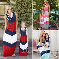 Summer Family Clothes Mother Daughter Dresses Womens Kids Girls Long Maxi Dress