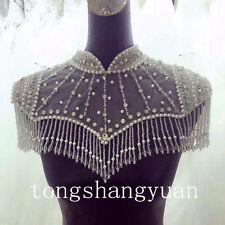 Luxury Bridal Wedding Jacket Cape Beading Crystal White Ivory Bolero Custom Wrap