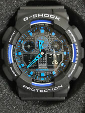 Casio G-Shock GA100-1A2 Ana-Digi Speed Indicator Black Dial Men's Watch bb