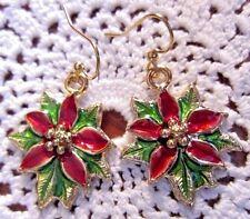 Flor de Nocha Buena Poinsettia Christmas Flower EARRINGS Kirsten USA w Gift Bag