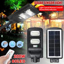 60W 80LED Solar Power PIR Motion Induction Wall Street Light + Remote Control
