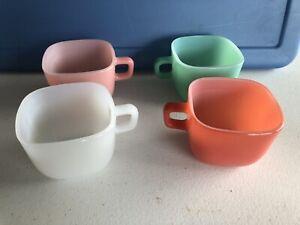 1950's Set Of 4 Glasbake Lipton Pastel Square Coffee Soup Mugs Multi Color