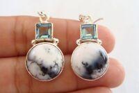 Dendritic Agate Blue Topaz 925 Sterling Silver Earrings
