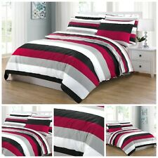 RED STRIPE DUVET COVER 100% EGYPTIAN COTTON QUILT BEDDING SETS DOUBLE KING SIZE