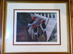 "John Ruthven Signed Wildlife Lithograph ""Red Headed Woodpeckers"""