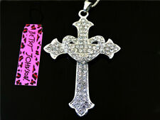 Betsey Johnson silver crystal Heart-shaped cross Charm Women's  Necklace