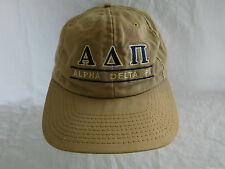 Vintage Alpha Delta Pi Sorority Baseball Cap Dad Hat Leather Strapback Split Bar