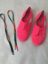 Hot Pink Not Rated Brand Womens Flat Lace Shoes  Size 9 With Extra Pair Of Lacrd