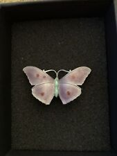 Ja & S Lilac Green Red . Antique Art Deco Sterling Silver Butterfly Brooch
