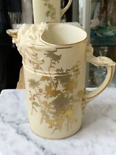 "INCREDIBLE 1889 ROYAL WORCESTER Pitcher 5"" tall Flowers & Lion Spout"