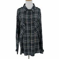 Sanctuary Snap Button Up Plaid Shirt Women's Size L Light Flannel Rolled Cuff