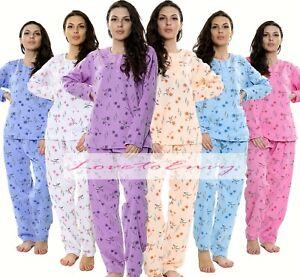 Ladies Fleece Pyjama Set Floral Print Cozy Long Sleeve THERMAL PJ Loungewear Set