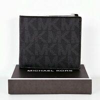 Michael Kors portemonnaie geldbörse jet set mens signature billfold schwarz neu