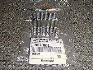 KAWASAKI Genuine OEM Cylinder Head Stud Set of 6 #92004-1009 Bolts KX250 KXT250