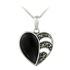 "925 Silver Marcasite & Onyx Heart Pendant, 18"""