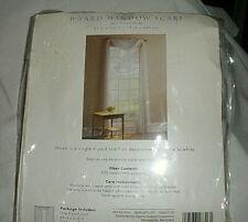 """White Leno Stripe Window Scarf, 6 Yard.  45"""" X 216"""", New Cotton/Polyester"""
