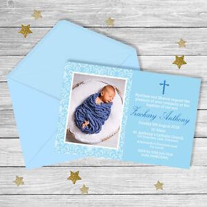 Baby Boy BAPTISM Invitation {Printed}
