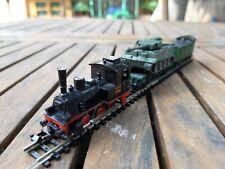 """Modélisme ferroviaire """"N"""" - MINITRIX  locomotive vapeur 030 et Convoi Militaire"""