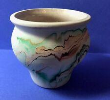 Nemadji Pottery Clay Vase Pot green/turquoise, tan, brown swirls.