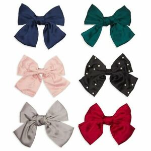 Satin Hair Bows for Women and Girls, Pearl Barrette Hair Clips in 6 Colors (6x)