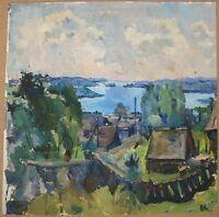 Russian Ukrainian Soviet Oil Painting Impressionism Village river Landscape