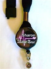 PINK HEARTBEAT STUDENT NURSE LANYARD & ID BADGE RETRACTABLE REEL BADGE,INSTRUCTR