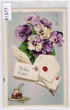 B1577cgt Greetings My Love to You Pansy flowers pu1911 vintage postcard