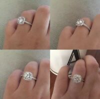 Round Cut Sterling Silver Cubic Zirconia Halo Engagement Wedding Ring Size 5-10