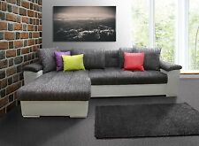 NEW CORNER SOFA BED ''MIKE'', MODERN QUILTING, ECO LEATHER AND WOVEN FABRIC