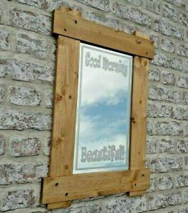 Handmade Rustic Mirror 'Good Morning Beautiful' Reclaimed Pine, Iron Stud Detail