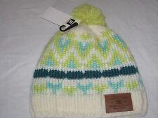 BNWT - DC SHOE Chunky Knit  Fleece Lined Bobble Beanie Hat  White