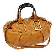 Authentic CHLOE Ethel 2way Hand Bag Purse Brown Leather Vintage Hungary V14192