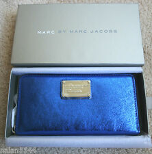 NWT MARC BY MARC JACOBS Classic Q Metallic Wingman Clutch Wallet Scuba Blue $208