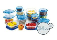 34 Pcs Reusable Plastic Food Storage Containers Set with Air Tight Blue Lids