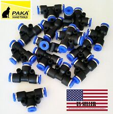 "20X Pneumatic Tee Union Connector Tube OD 1/4"" 6mm One Touch Push In Air Fitting"