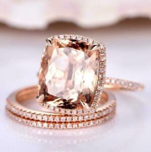 5 Ct Cushion Morganite Halo Diamond Engagement Wedding Ring Set 14k Rose Gold Fn