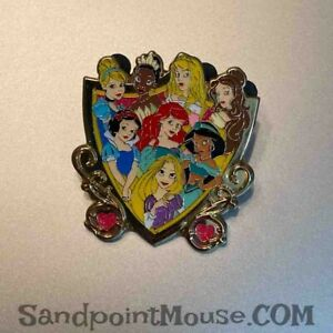 Disney Storybook Princess Shield Tiana, Ariel, Jasmine Rapunzel Pin (UU:94268)