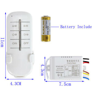 4CH 220V Wireless Lamp Light Fan Switch Remote Control Receiver Universal ON OFF