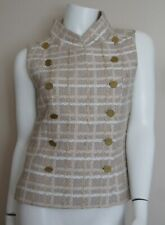 Auth CHANEL Multicolor Wool Blend Tweed Vest 12 CC Buttons Size 36