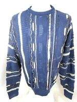AMERICAN PRIORITY men sweater  vtg 1980s blue biggie  cosby pullover abstract XL