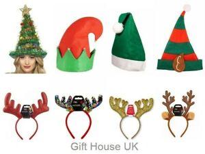Christmas Antlers Santa Hat Headband Reindeer Elf Sequin Boppers Xmas Party