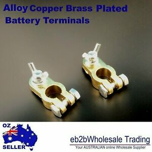 Alumium Copper Brass color alloy Battery Terminals Clamp Connector Clip +/- Pair