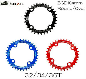 SNAIL MTB Bike Single Narrow Wide Oval Chainring Chain Ring BCD 104mm 32 34 36T