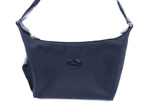 Longchamp Black Nylon Small Crescent Mini Hobo Shoulder Bag Spellout Strap