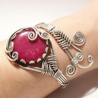 Handmade Wire Wrap Ruby Stone Cuff Bracelet
