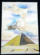 """1978 Egyptian WC Painting """"Pyramid, Robe, Rope"""" by Youssry (Stea)"""