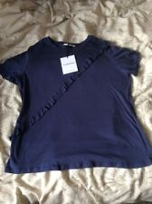 BNWT LADIES NAVY GLAMOROUS FRILL DETAIL SHORT SLEEVE T SHIRT SIZE LARGE