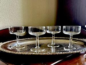 4 Vintage Champagne Coupes Mid Century Martini Cocktail Glass Stemware Barware