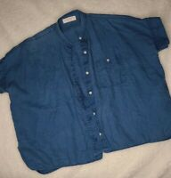 Everlane Size 2 100% Linen Short Sleeve Shirt V-Neck Button Down Top Blue