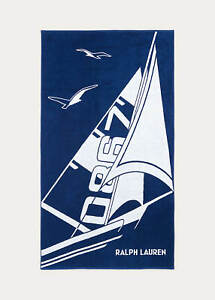 """RALPH LAUREN  Beach Towel CLAUDE NAVY Large Heavy New with tags 40"""" x 70"""""""